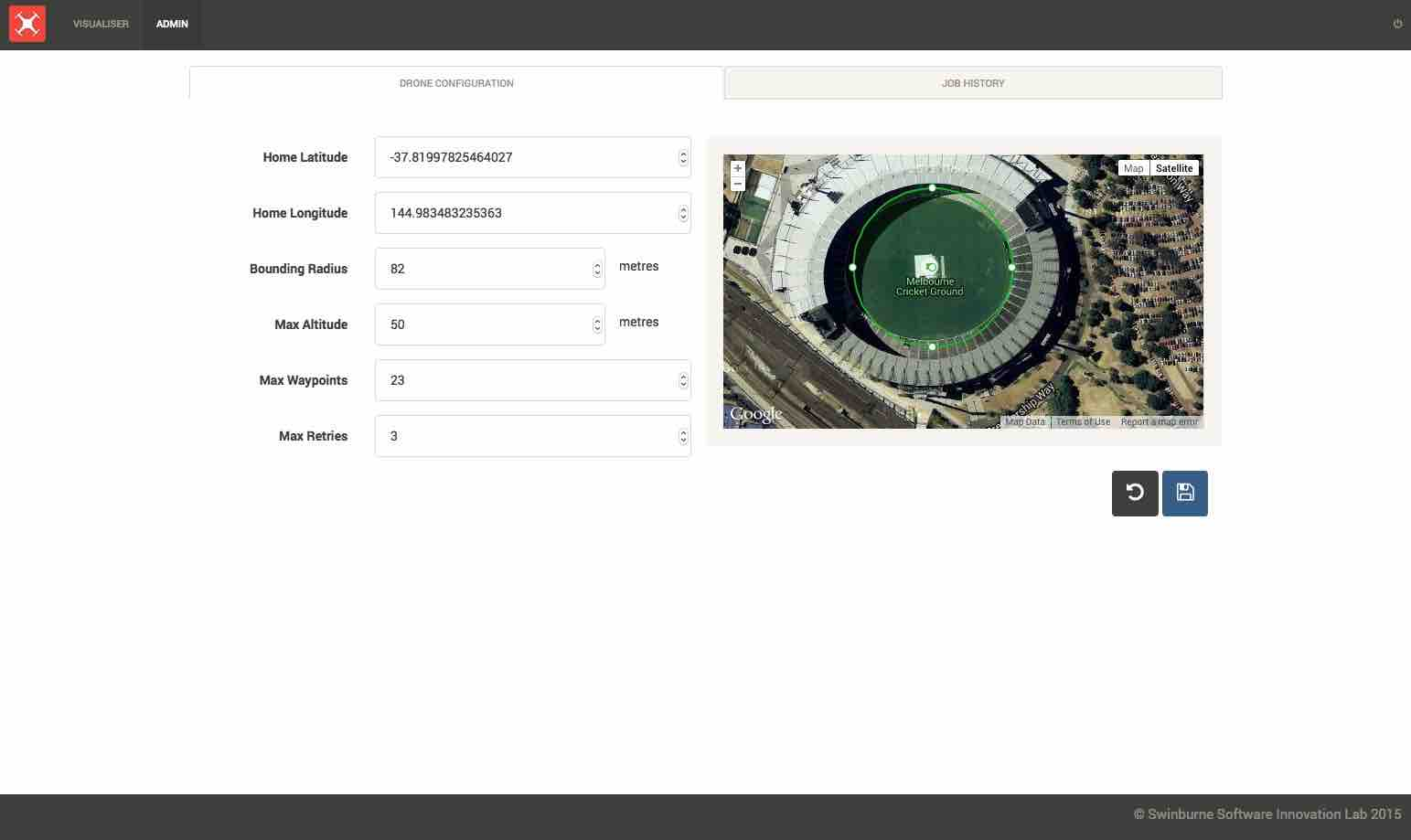 Open the Admin Panel to change where the home drone location is, as well as other drone flight options